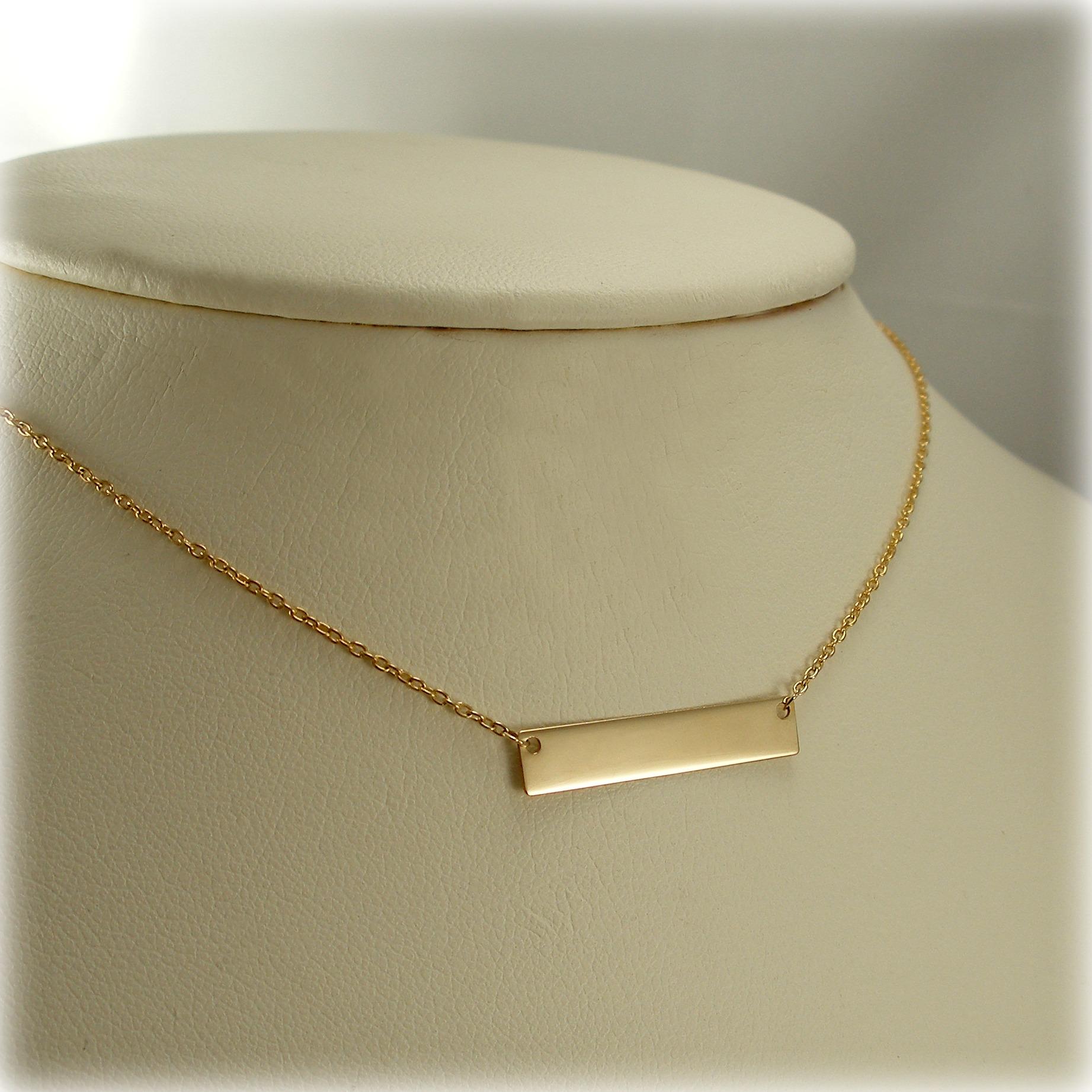 212b5a88b62 9ct plain Horizontal Gold Bar Pendant and Chain | Mr Allan Jewellers
